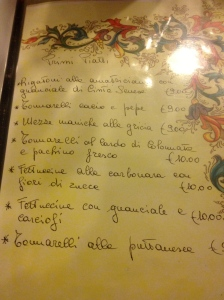 Il Timoniere Menu in Rome where Anthony Bourdain ate.
